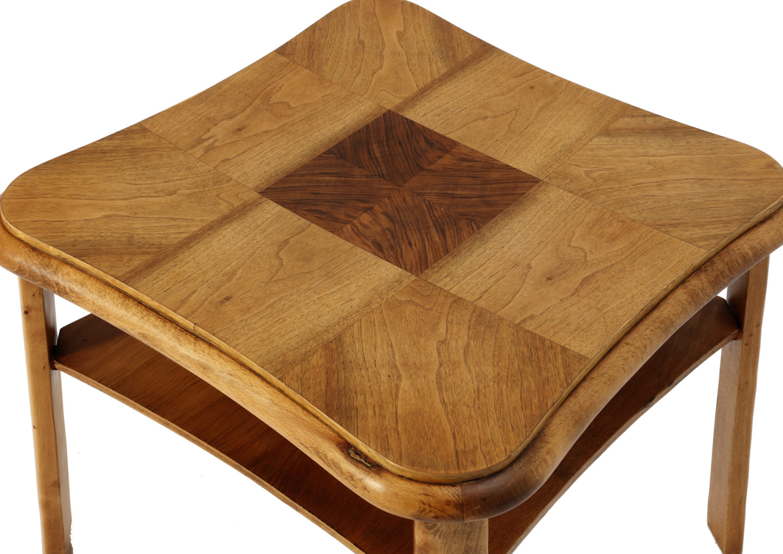 Art deco beech table with walnut intarsia