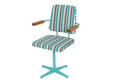 "A ""Type B"" rotating medical chair from 1972. Żywiec Factory of Hospital Equipment. Stripes"